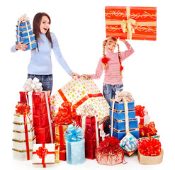 Happy family with child and group gift box.