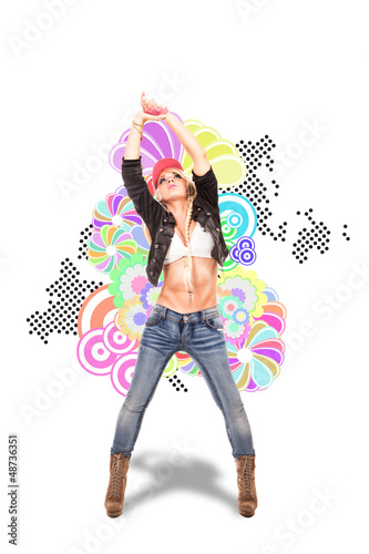 Sexy Blonde female dancer in front of illustration background