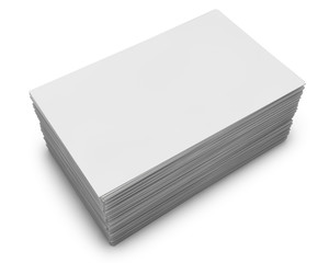 Blank business cards stack isolated on white