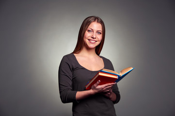 pretty woman with books