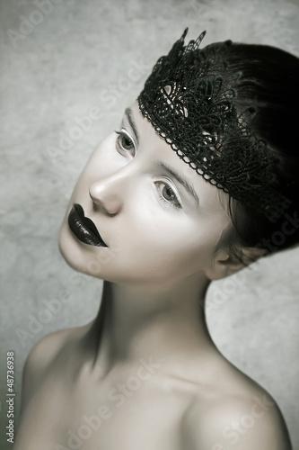 Beautiful Brunette Fashion Model with Black Lips Make-up