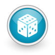 dice blue glossy icon on white background