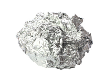 Crumpled tin foil isolated
