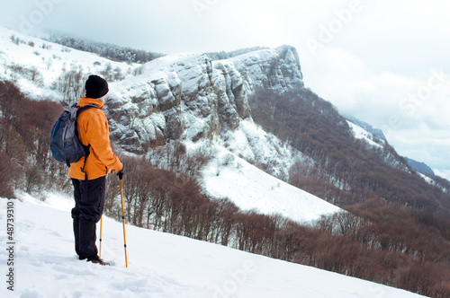 Hiker standing on the edge