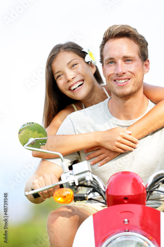 Couple on scooter in love