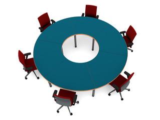 Sillas en circulo y mesa
