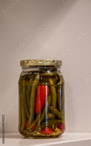Jar of Pickled Jalapeno and Cayenne Peppers