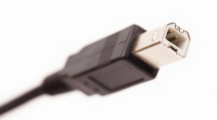 close-up of socket usb cable isolated on white background
