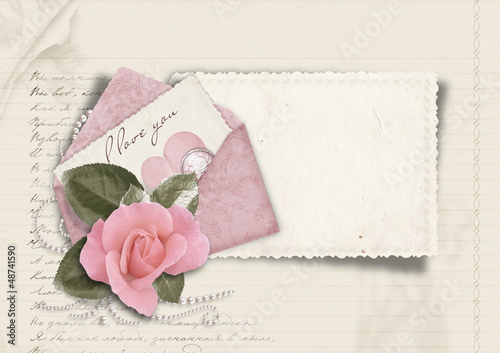 Beautiful love card. Retro postcard for Valentine