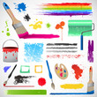 Painting and paint splats elements illustration EPS 10