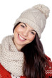 Attractive girl with with wool hat and scarf