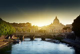 view on Tiber and St Peter Basilica in Vatican - 48742724