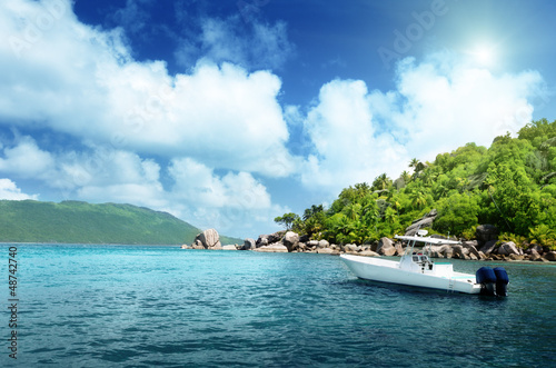 speed boat on the beach of La Digue Island, Seychelles