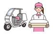 ピザデリバリーの女性と宅配バイク