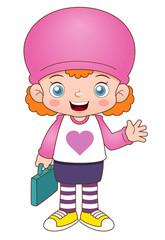 illustration of Cartoon girl back to school