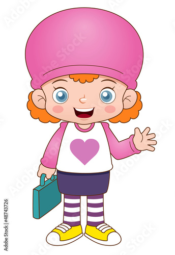 illustration of Cartoon girl back to school