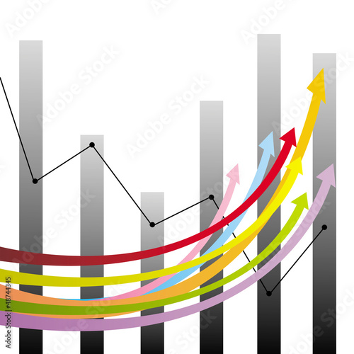 Colorful growth arrows and graphs