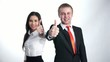 businesspeople showing thumbs up with a smile