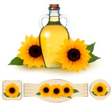 Bottle of sunflower oil with flower and  labels sunflower oil. V