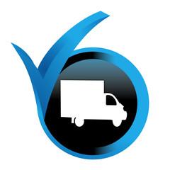 camion de livraison sur bouton validé bleu