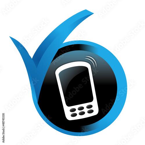smartphone sur bouton validé bleu