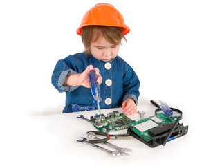 One small little girl fixing router or modem or PCB.
