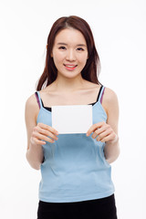 Asian woman showing empty card