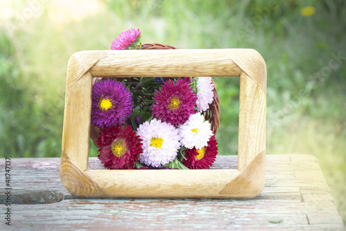 basket with flowers framed