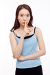 Young Asian woman gesture dont' make sound.
