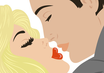 Illustration of kissing man and woman