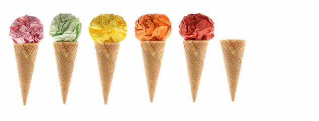 Conos de helado de colores
