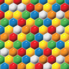 Plastic children's hexagon mosaic. Vector background.
