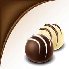 Chocolate text frame with chocolate bonbon