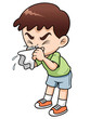 illustration of sick boy cartoon