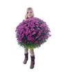Blondes, kleines Mädchen mit riesigem Blumenstrauß