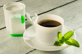 Coffee with stevia sweetener