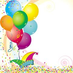 Luftballon- und Konfettihintergrund
