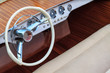 Luxury wooden motor boat - steering wheel and leather seats - 48749957