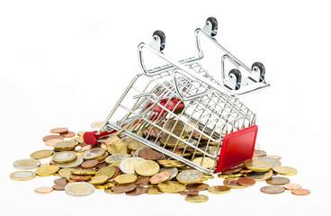 Einkaufskorb voller Münzen
