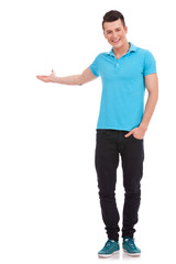casual man presenting