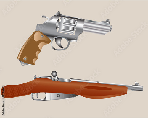 Gun revolver and edge of the rifle
