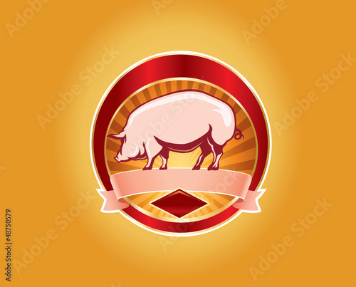fresh pork label with pig
