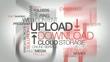 Upload Download mega storage file streaming tag cloud animation