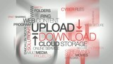 Upload Download mega storage file streaming tag cloud animation
