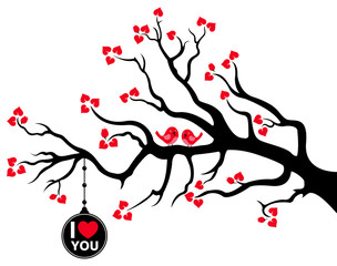 Branch with Black Love Tag and Love Birds