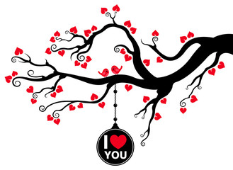 Branch with Hanging Love Tag and Love Birds