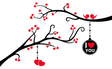 Two Branches with Hanging Love Tag and Hearts