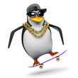 Penguin rapper flips his skateboard
