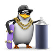 Penguin rapper with a spraycan
