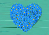heart shape made from forget-me-not